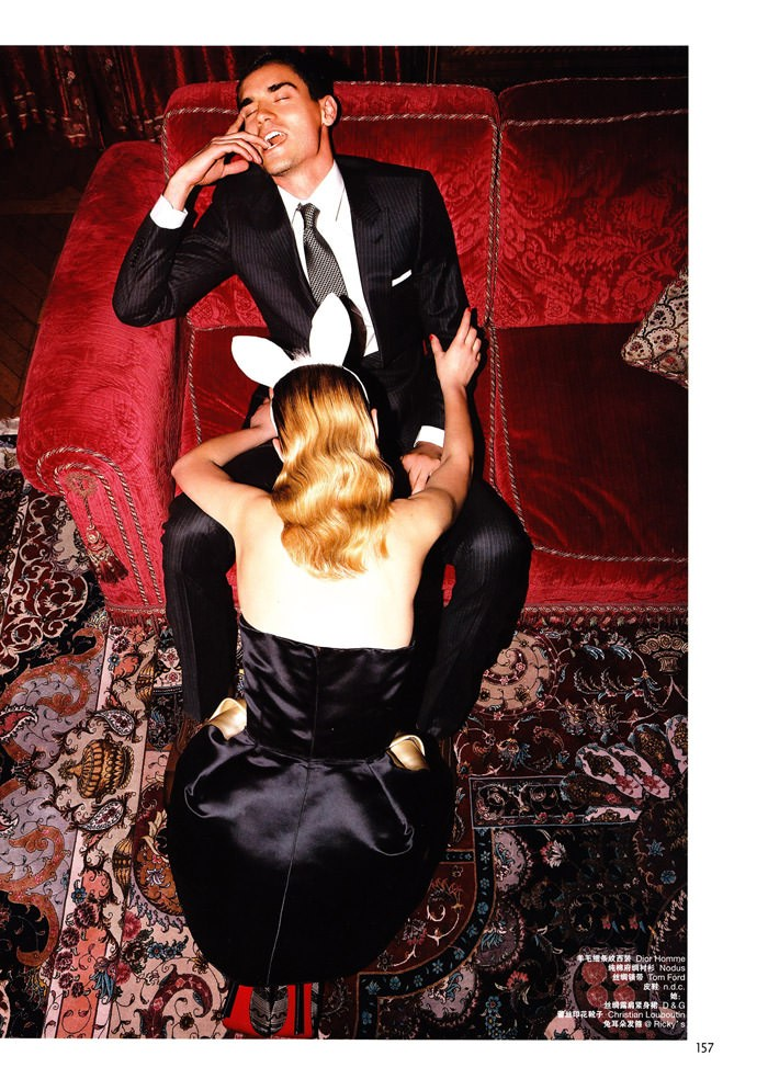 "Tatyana Ruban and Arthur Kulkov photographed by Milan Vukmirović in ""Call Girl"" for L'Officiel Hommes China #228, February 2010 3"