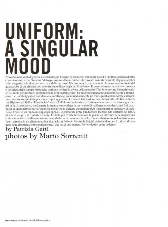 "Sasha Pivovarova photographed by Mario Sorrenti in ""Uniform: A Singular Mood"" for Vogue Italia, April 2010 1"