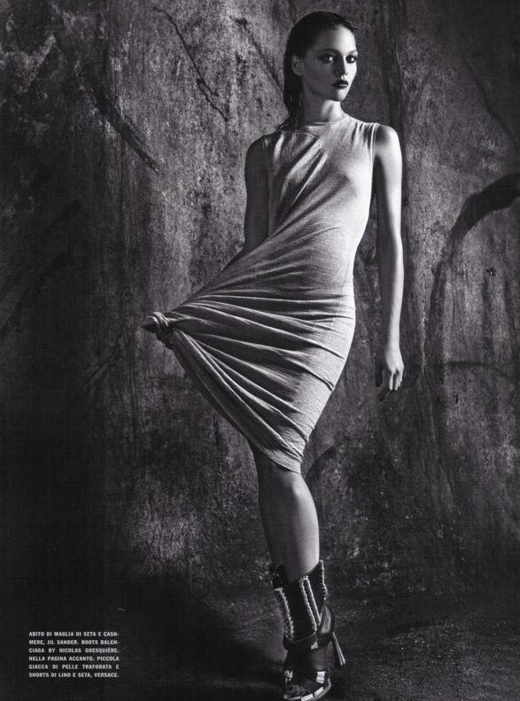 "Sasha Pivovarova photographed by Mario Sorrenti in ""Uniform: A Singular Mood"" for Vogue Italia, April 2010 14"
