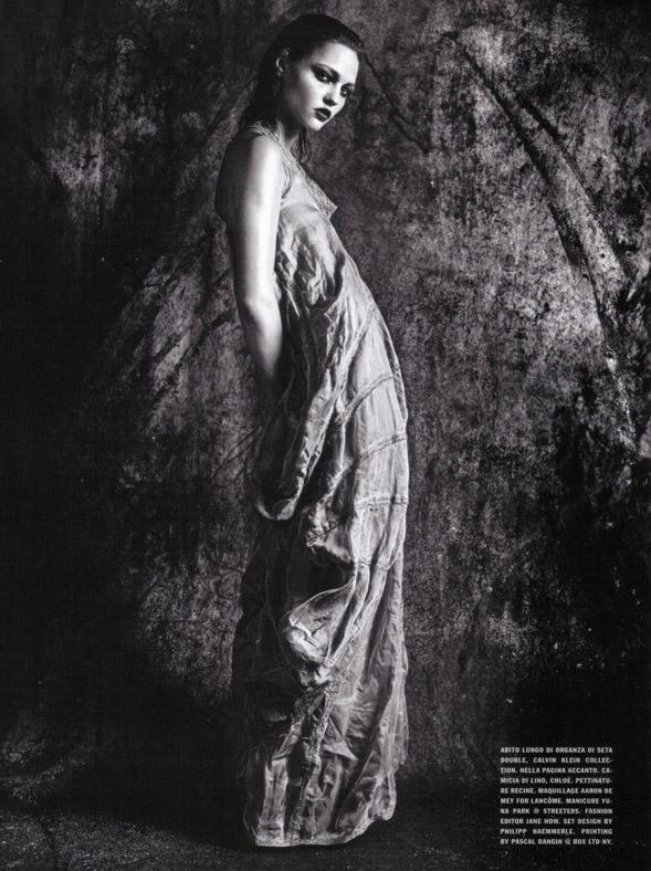 "Sasha Pivovarova photographed by Mario Sorrenti in ""Uniform: A Singular Mood"" for Vogue Italia, April 2010 15"