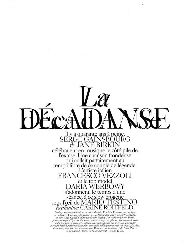 "Daria Werbowy and Francesco Vezzoli photographed by Mario Testino in ""La Décadanse"" for Vogue Paris, May 2010 1"