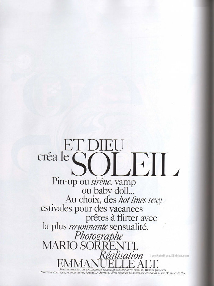 """Kate Moss photographed by Mario Sorrenti in """"Et Dieu Créa Le Soleil"""" for Vogue Paris, June / July 2010 1"""