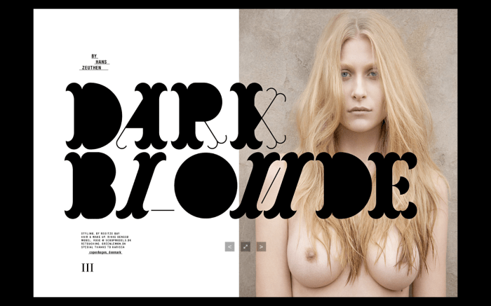 """Dark Blonde"" photographed by Hans Zeuthen for SokoZINE: The Anniversary Issue 1"