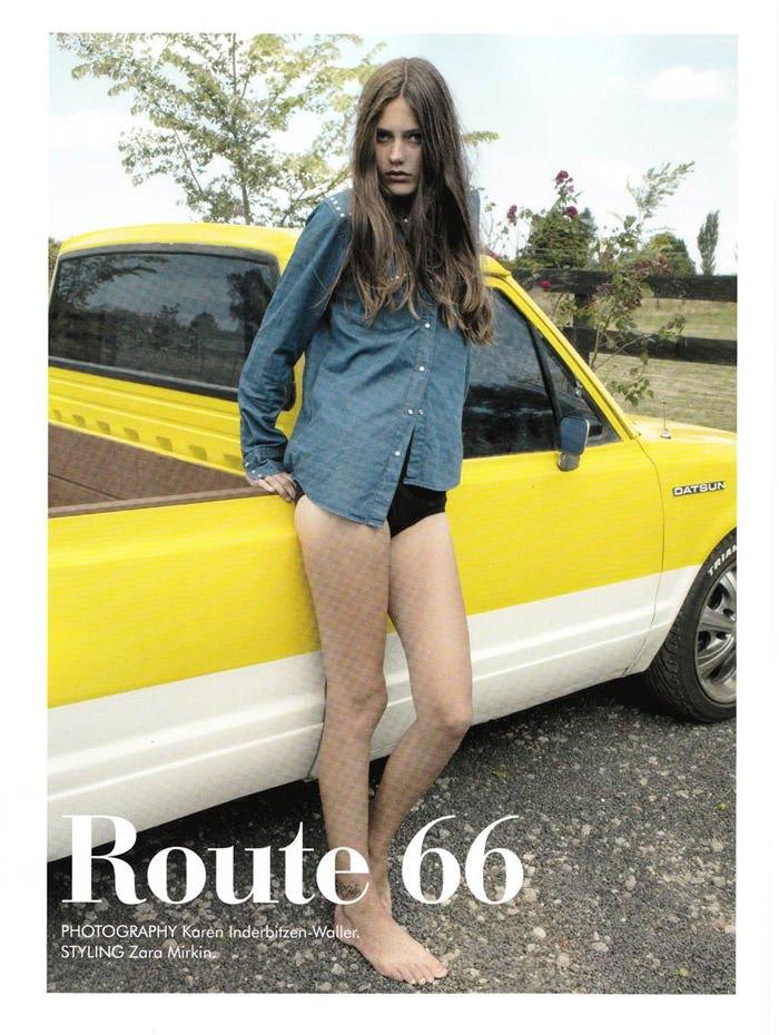 """Zippora Seven & Jordan Agnew photographed by Karen Inderbitzen-Waller in """"Route 66"""" for Yen #46 2"""