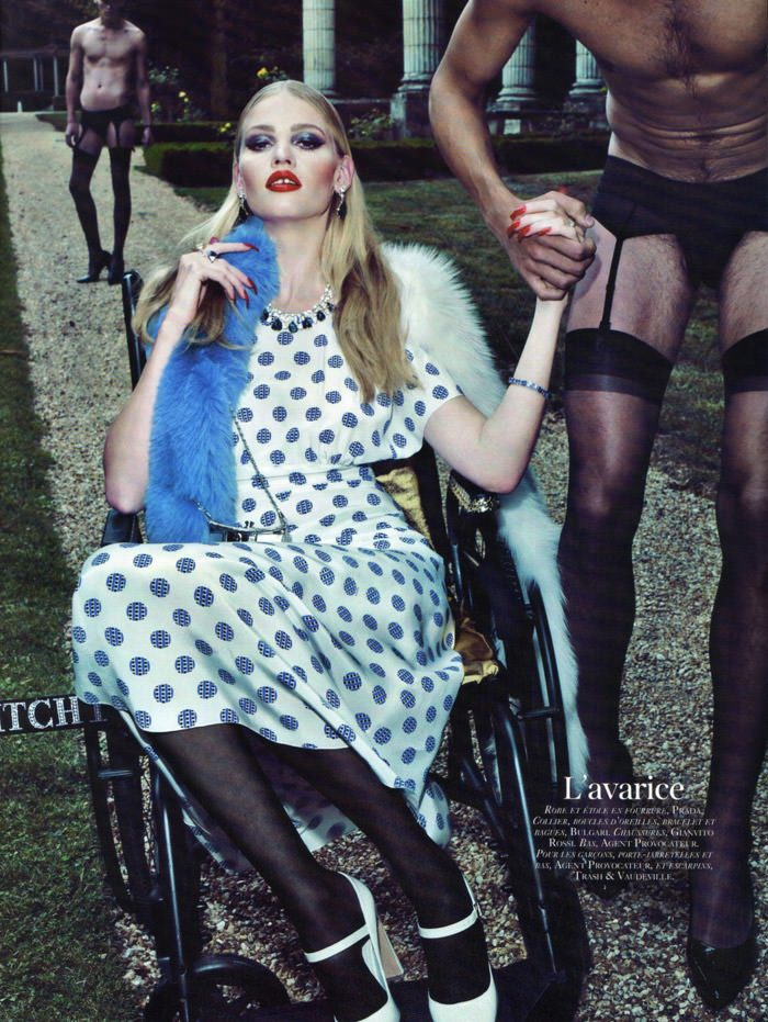 "Lara Stone photographed by Steven Klein in ""Les péchés"" for Vogue Paris: 90th Anniversary Issue, October 2010 6"
