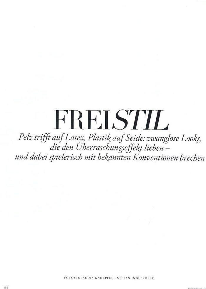 """Julia Stegner photographed by Claudia Knoepfel & Stefan Indlekofer in """"Freistil"""" for Vogue Deutschland, December 2010 2"""