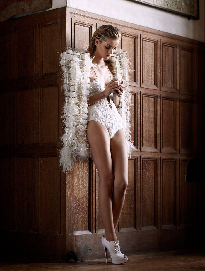 "Denisa Dvorakova photographed by Johan Sandberg in ""White Affair"" for Marie Claire Italia, January 2011 3"