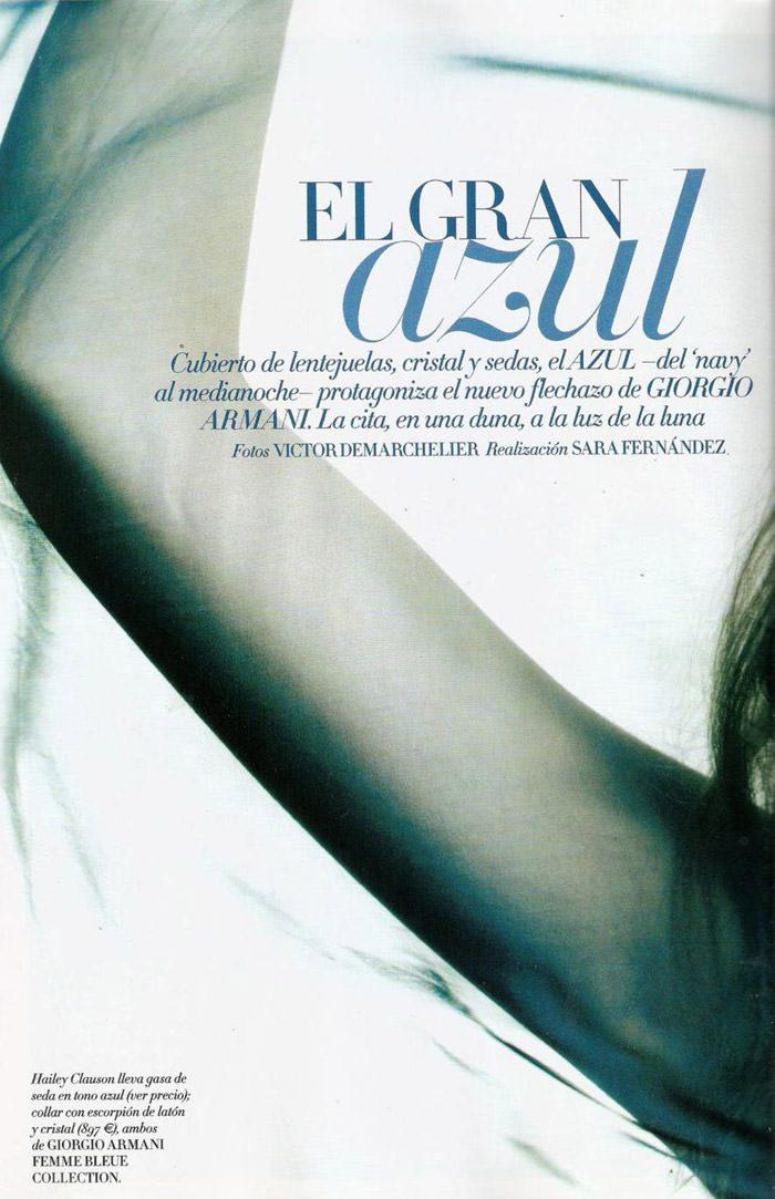 """Hailey Clauson photographed by Victor Demarchelier in """"El Gran Azul"""" for Vogue España, March 2011 2"""