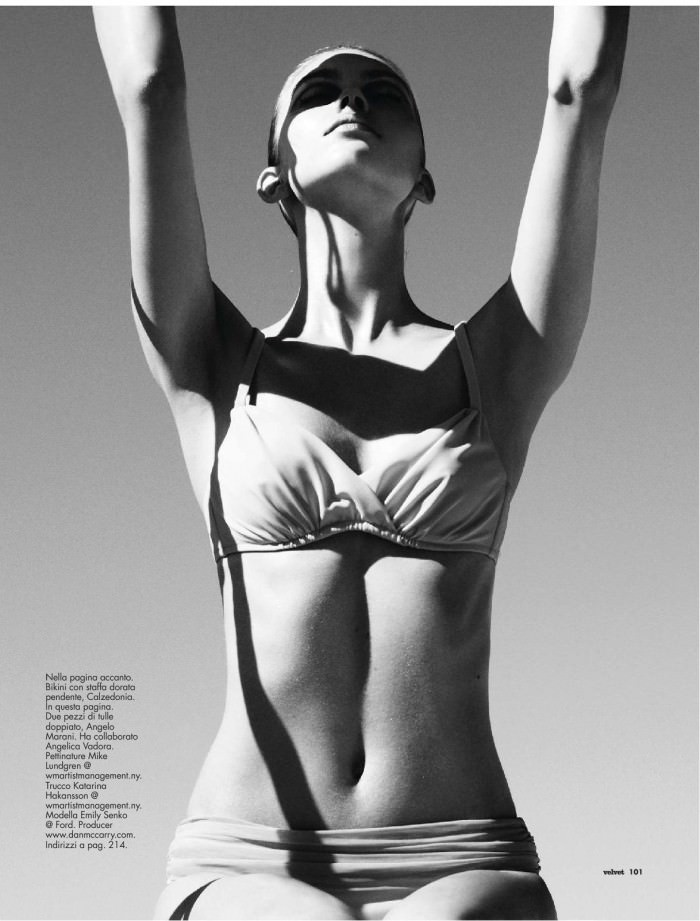 "Emily Senko photographed by Marcus Ohlsson in ""Le Dee Del Mar"" for Velvet, July 2012"