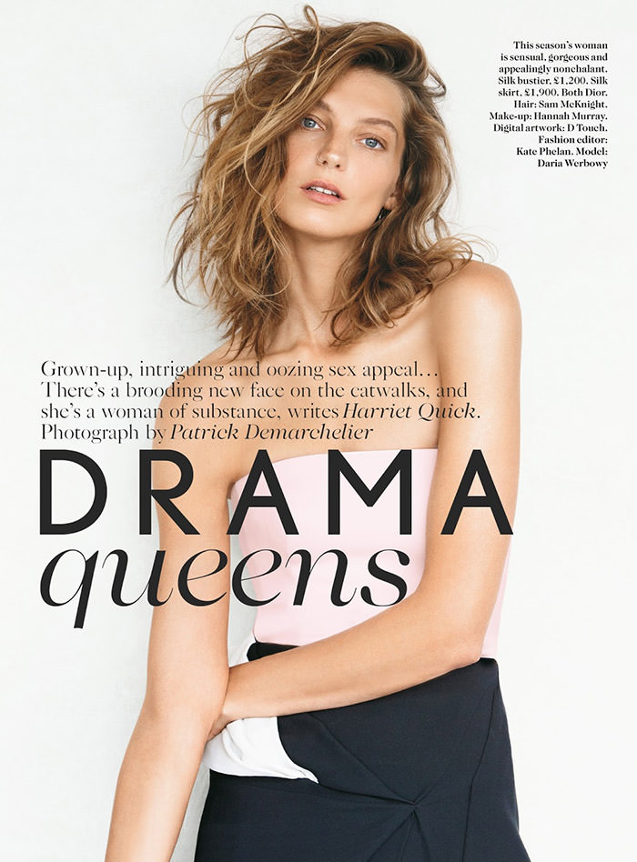 Daria Werbowy by Patrick Demarchelier for Vogue UK