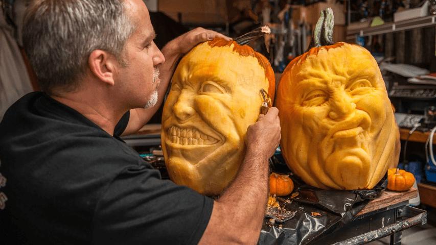 jon neill, zucche intagliate, halloween pumpkin