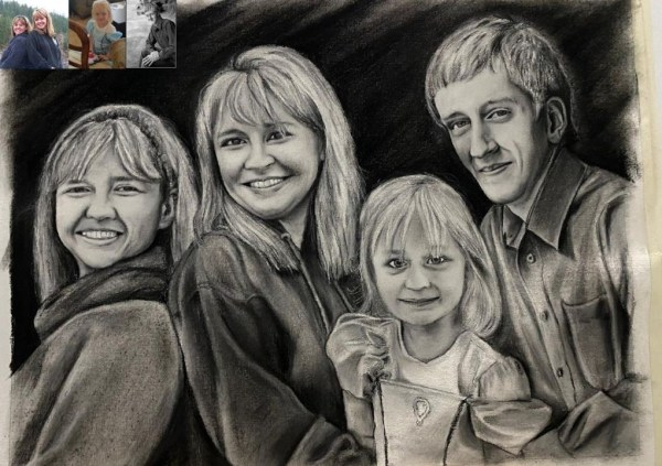 family charcoal sketch of two ladies one kid and one men