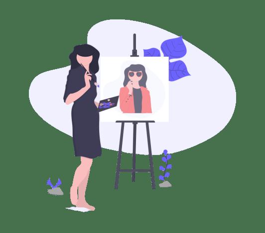 a women painting portrait on canvas