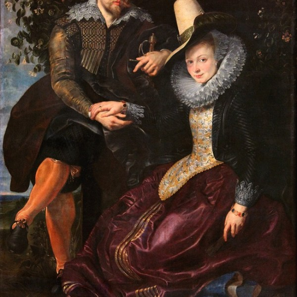 Flemish Baroque and his first wife romantic painting holding each other hands
