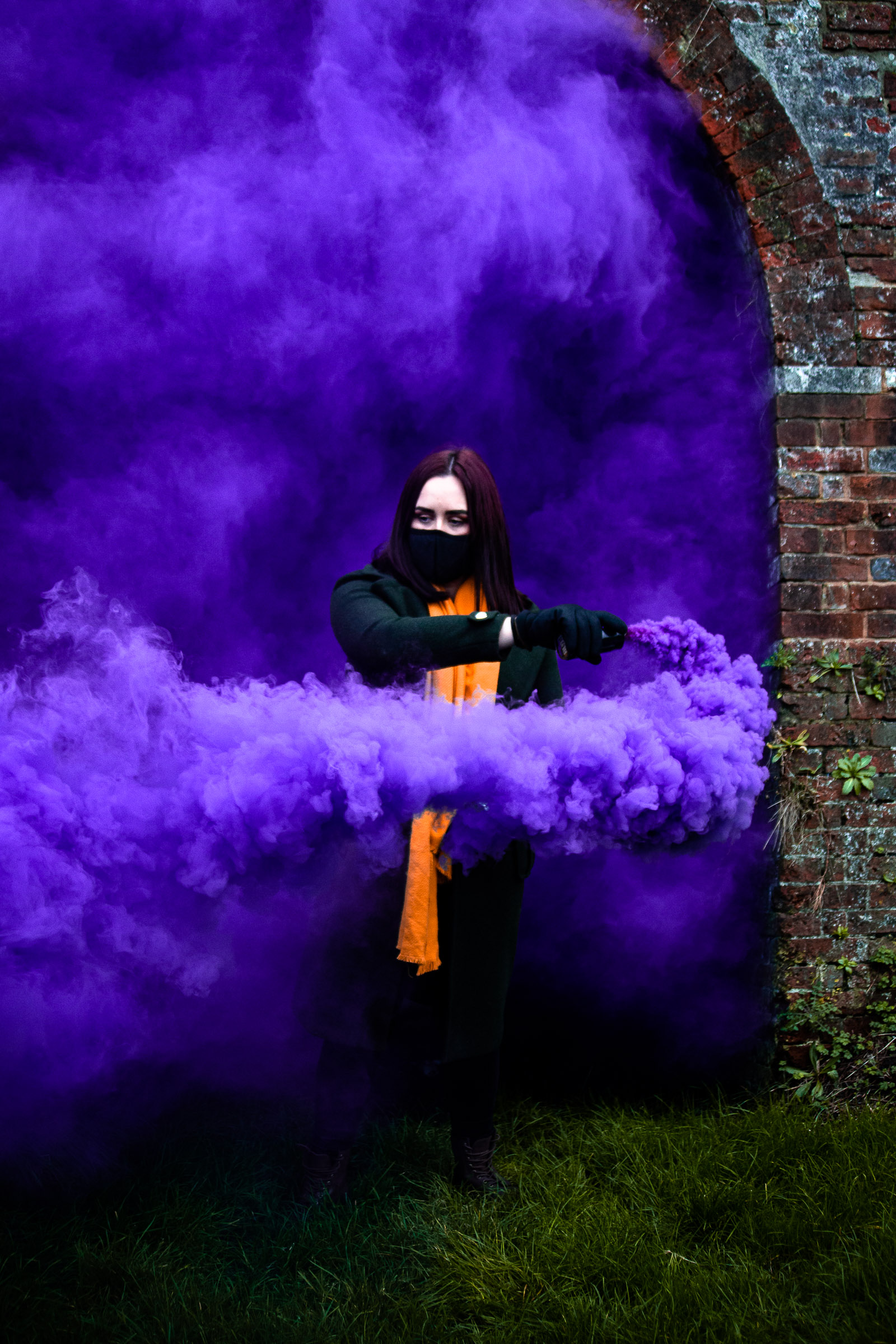 Purple smoke bomb photography Hampshire