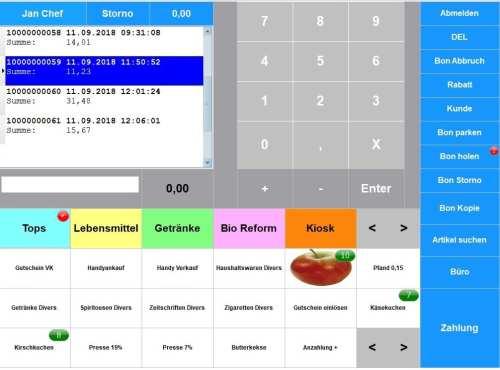 Demo Download, Kassiervorgang Handel - Bonstorno