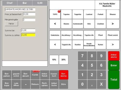 Kasse Baumarkt Kassieren,  kasse, kassen, kassensystem, kassensysteme, kassensoftware, touchkasse, computerkasse, pc kasse, maxstore