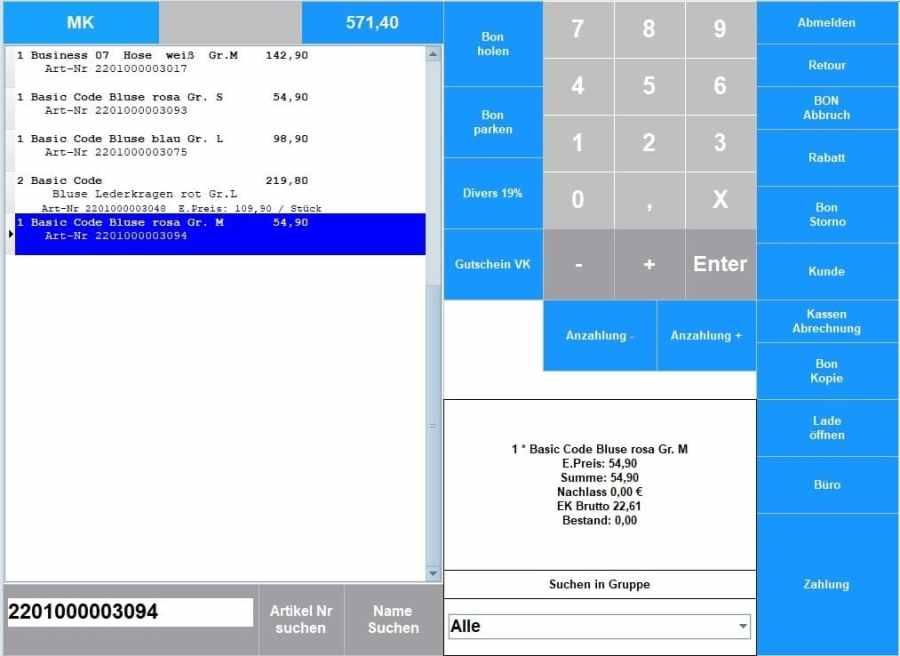 Kassensoftware-Artikel-suchen