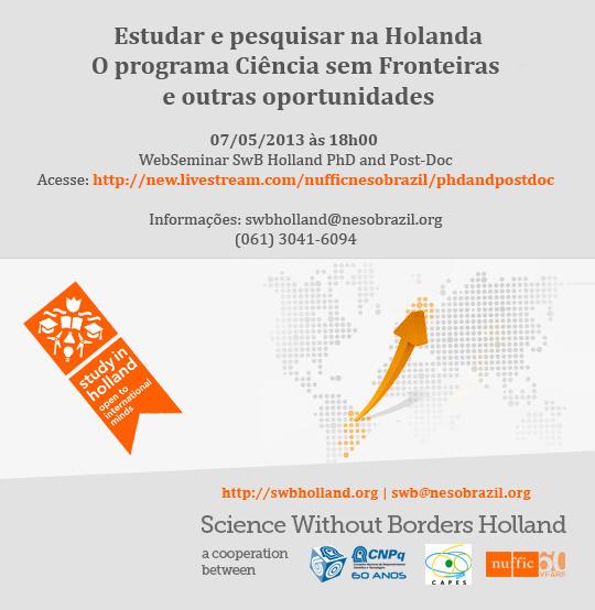 Web Palestra Estudar & Pesquisar na Holanda