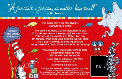 Dr Seuss Primary Colors Baby Shower Invitations