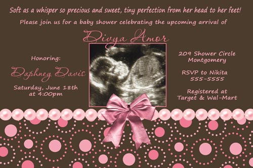 Pink Brown Pearl Baby Shower Invitations