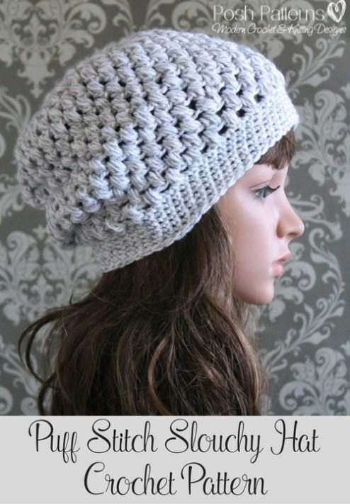 30d35f1af Puff Stitch Slouchy Hat Crochet Pattern