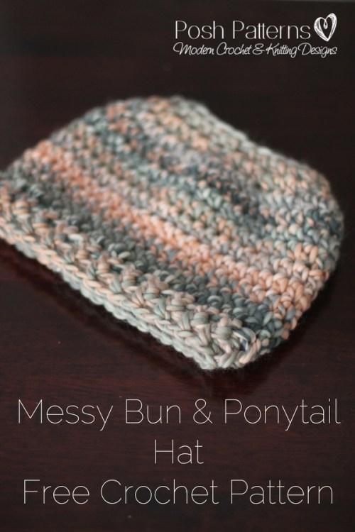 7e92bc5cde3e0 Free Messy Bun Hat Crochet Pattern