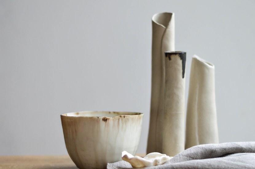 blog post celebrating wabi sabi, beautiful white pottery
