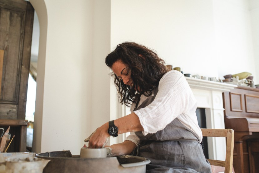 brand photography, potter at her wheel