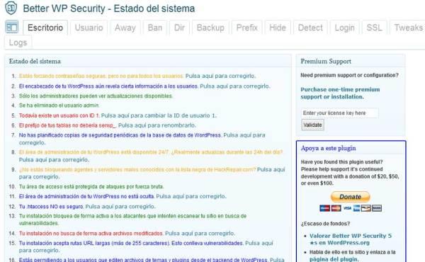 better wp security panel de control