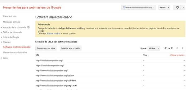 webmaster tools analisis