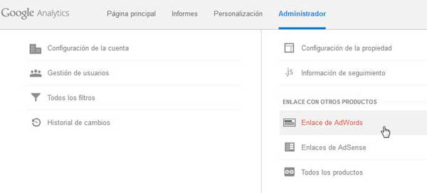 enlazar adwords con analytics