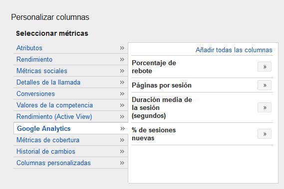 Ver columnas de analytics en adwords