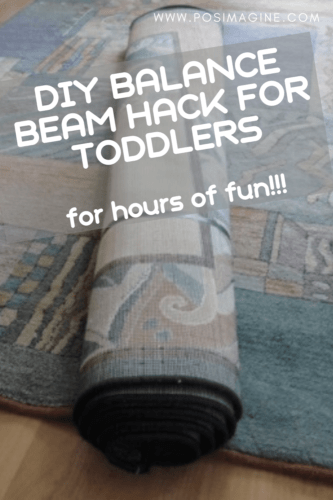 DIY balance beam hack for toddlers using carpets