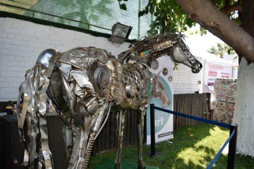 A horse made of scrap metal (artist Spyros Kontoulis, company AEIFOROS S.A.