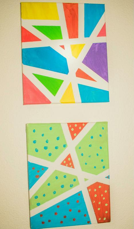 painters tape diy canvas art