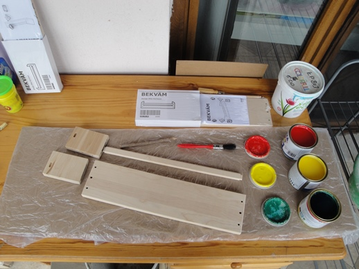 shelf and paints