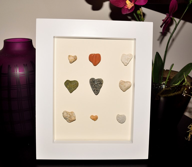 diy framed stone hearts
