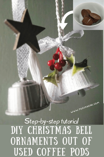 DIY Christmas Bell Ornaments out of used coffee pods