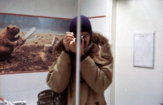 Selfportrait on toilet mirror Cosina CT-3