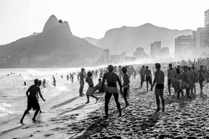 People enjoy beach soccer on the famous beach of Ipanema, Rio de Janeiro, BRAZIL