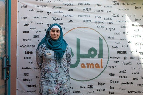 Oumaima Mhijir, head of communications at the Amal restaurant. The Amal Women's Training Center & Moroccan Restaurant, is a real company in Morocco. The activity is the brainchild of Nora Fitzgerald, to teach disadvantaged women a trade that gives them social and human redemption. Amal, many women learn to cook, to handle restaurant rooms and customers and to be an active part of society.