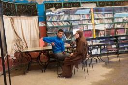 """Two friends in the reading room of the Association """"El Amane pour le femme et l'enfant""""."""