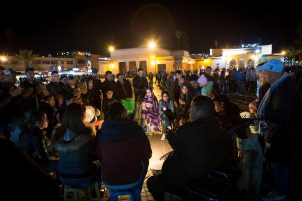 The evening meeting in the Jemaa el Fna.