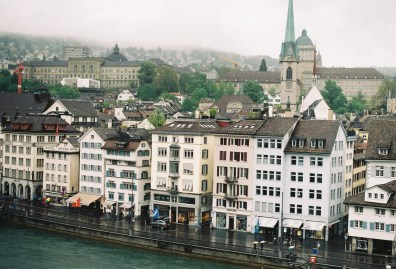Right river bank of Zurich, overlooking the ETH Library and the Zoological Museum