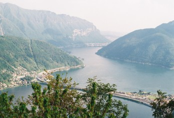 View from Monte San Salvatore (912m) over Bissone, and Maroggia in the background