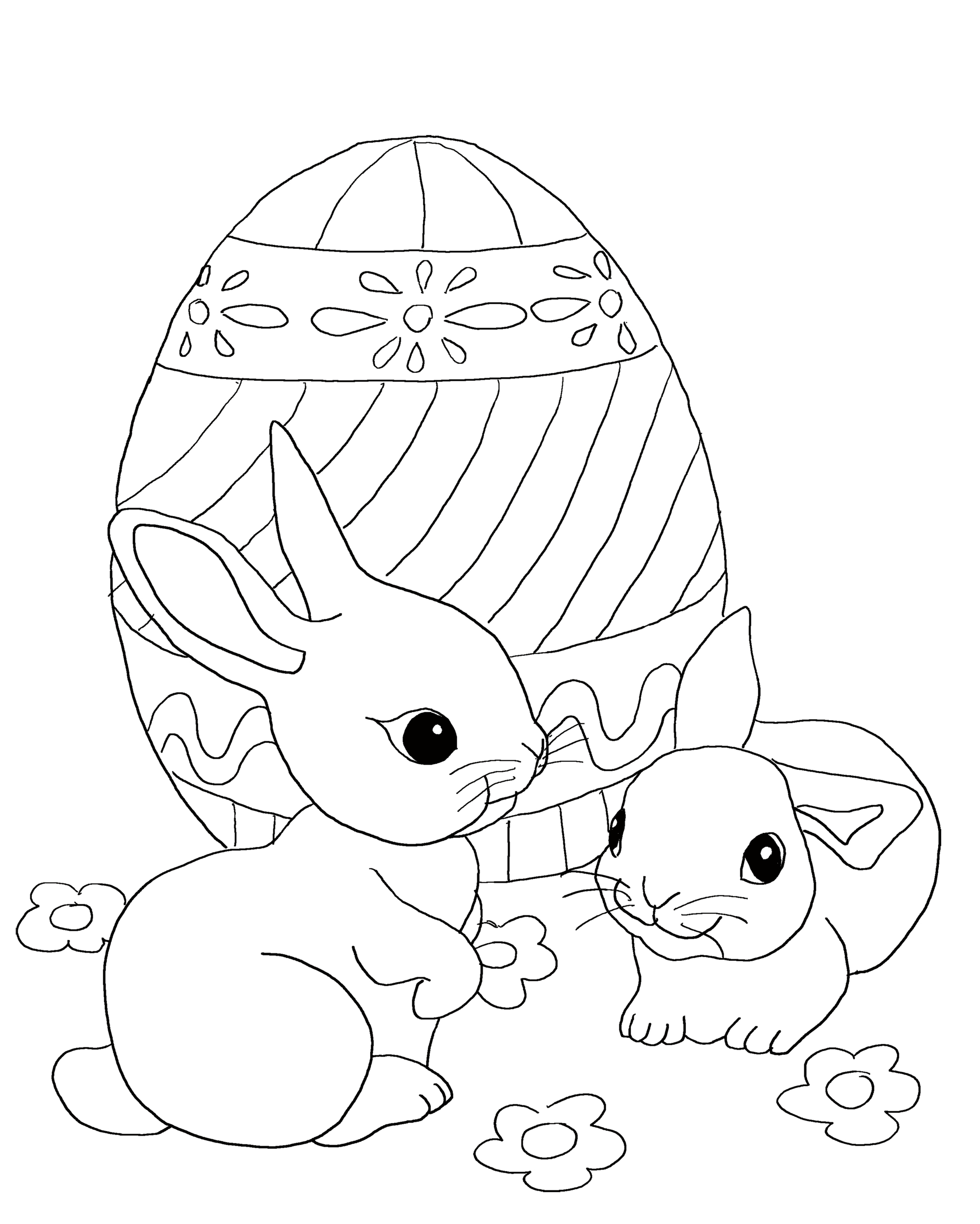 Easter Bunny Coloring Worksheet Printable