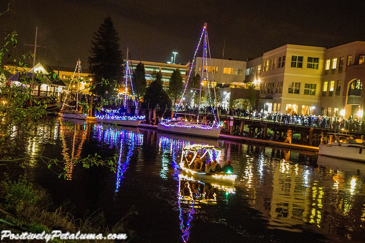 Promenade of Lighted Sail Boats