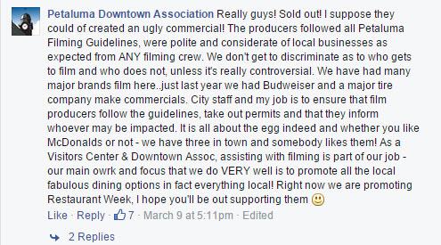 Petaluma Downtown Association Facebook Reply