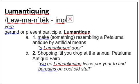 Definition of Lumantiquing 2